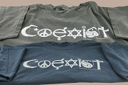 Premium T-Shirt : Coexist - CHARCOAL Garment Washed with Distressed Logo - Size 2x