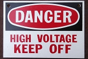 Heavy Vintage Wooden Danger High Voltage Sign