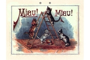 Miau! Miau! Kitties and Ladder (Meow! Meow!) Old Fashioned Signboard