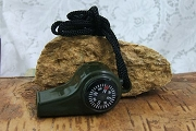 Highly Useful Olive-Drab Whistle with Compass & Thermometer