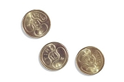 Set of 3 Golden Yin-Yang Coins