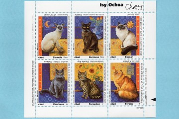 Les Chats (Cats) by Ochoa Artistamps/Faux Postes