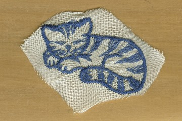 Vintage Embroidered Blue Cat Applique