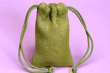 Moss Green Fine Burlap Drawstring Bag