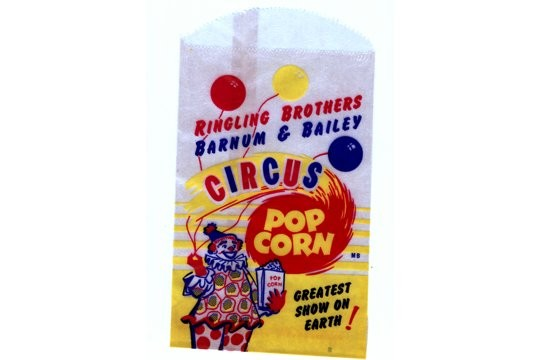 Vintage Ringling Brothers Barnum & Bailey Circus Popcorn Wax Paper Bag