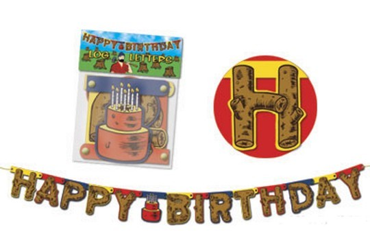 Old-Fashioned Log Letters - Happy Birthday Banner