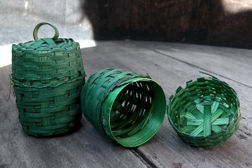 Small Vintage Green Wooden Basket with Lid