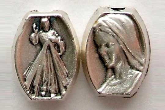Divine Mercy and Our Lady Silver Oxidized Bead