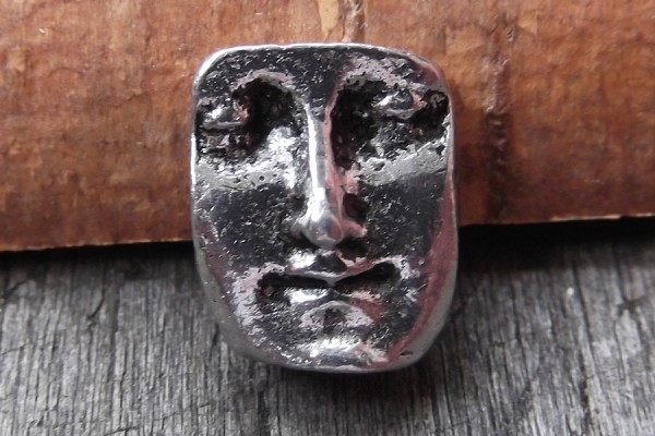Reversible Antiqued Silver Face Bead