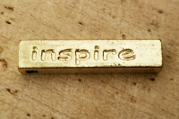 "Aged Golden ""inspire"" Bead or Pendant"