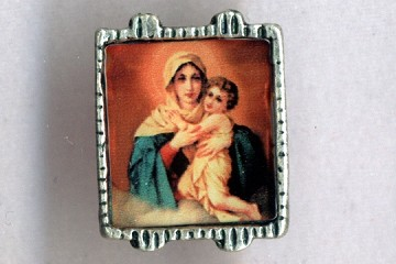 Colorful Madonna and Child Bead (framed in silvery metal)
