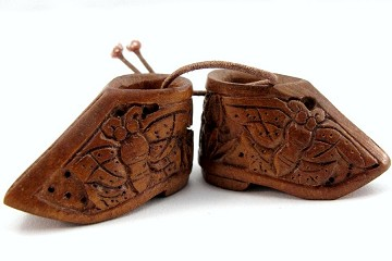 Hand Carved Ojime Shoes - Set of 2 Beads or Charms