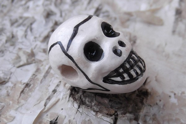 Hand-Painted Small Ceramic Skull Bead
