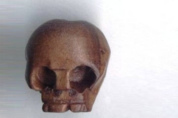 LARGE Hand-Carved Wooden Skull Bead