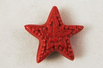 Red Cinnabar Star Flower Bead