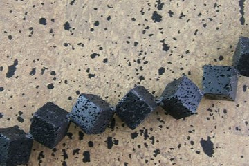 Polished Black Volcano Cube Bead