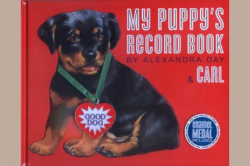 My Puppy's Record Book with Die-Cut Carl & Enameled Medal on Ribbon