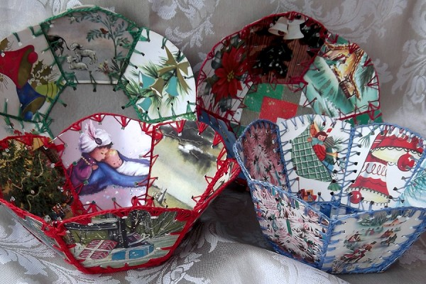 Vintage Handmade Basket Created from Christmas Cards