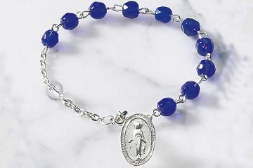 Blue and Transparent Crystal Rosary Bracelet Featuring the Miraculous Medal