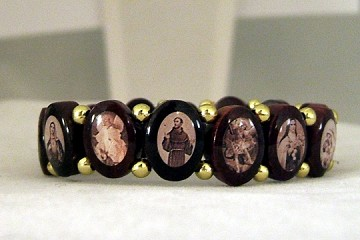 Wooden Saints Bracelet - Brown with OVAL Beads and SEPIA Images