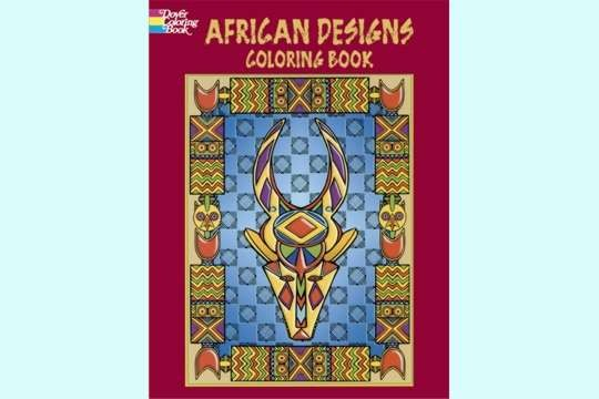 African Designs Coloring Book with Free Mini Box of Crayons