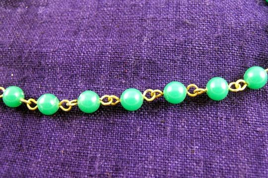 VINTAGE Green Glass Bead and Golden Rosary Chain by the Inch (5 mm)