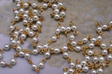 White Glass Pearl and Golden Link Rosary Chain by the Inch
