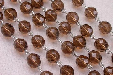 Faceted Smoky Topaz Crystal and Silver Chain by the Inch