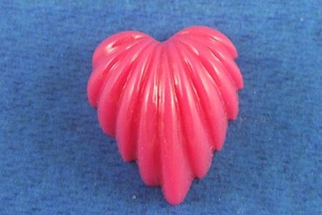 Tiny Vintage Flat-Backed Red Heart Plastic Cabochon