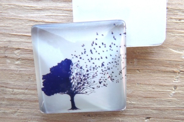 Square Glass Domed Square Birds Are a Tree Cabochon