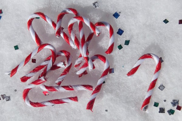 Rare Package of 10 Wee Little 1/2-Inch Paper Fabric Covered Candy Canes