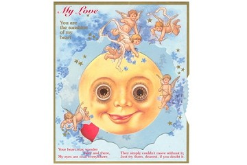Victorian Man in the Moon Love Card with Moving Eyes