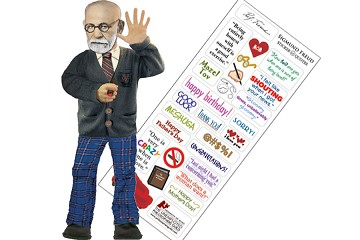 Die-cut Flexible Greeting Card with Sticky Messages - Sigmund Freud