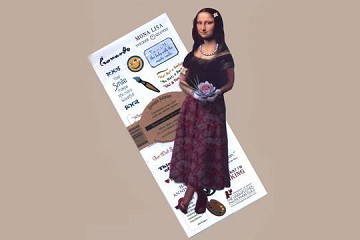 Die-cut Flexible Greeting Card with Sticky Messages - Mona Lisa