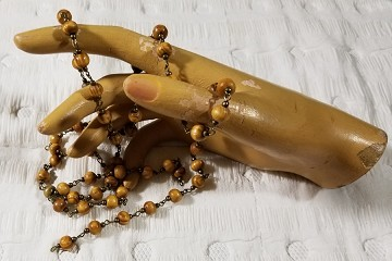 One (1) Meter Rosary Chain with 6mm Wooden Beads & Antiqued Brass Links