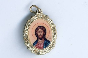 Brilliantly Colored Golden Christ Pantocrator Charm