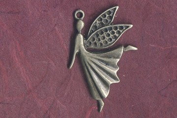 Antiqued Brass Flying or Dancing Fairy Charm