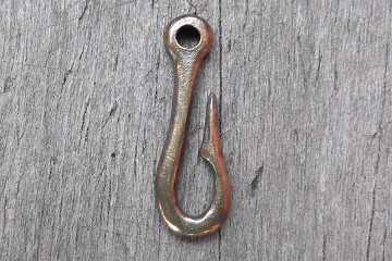 Antiqued Brass Hook Charm or Component