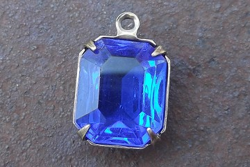 Vintage Octagonal Blue Glass Cabochon in New Oxidized Brass Charm