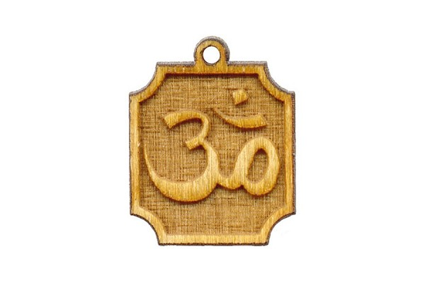 Elegant Laser Carved Wooden Ohm Plaque Charm