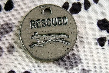 Silvery Rescued Charm with Greyhound Silhouette