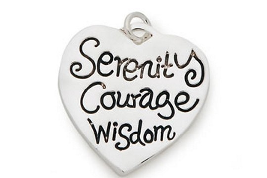 Serenity - Courage - Wisdom Silver Plated Heart Charm
