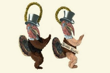Set of 2 Chenille Turkey Buddy Ornaments
