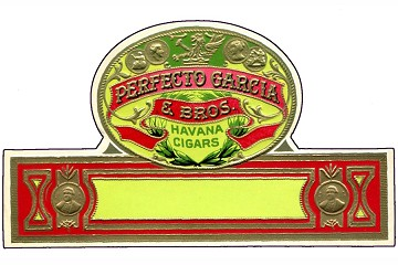 Large Vintage Cuban Cigar Label, Gilded, Embossed and Die-Cut: Perfecto Garcia