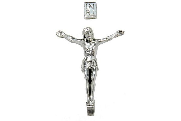Oxidized Silver Corpus of Jesus Set with INRI Plaque