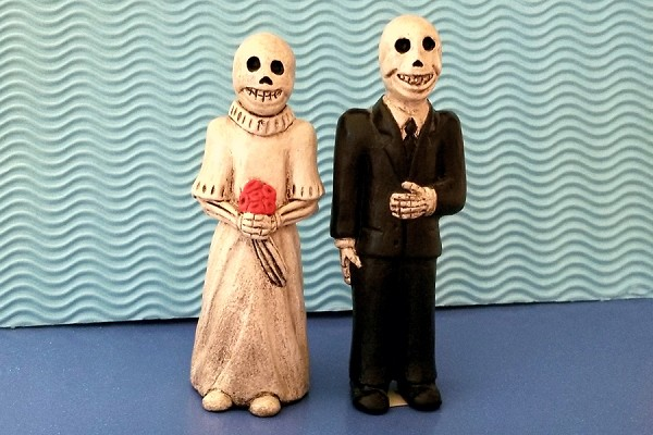 Large Ceramic Day of the Dead Wedding Couple