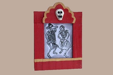 Day of the Dead Dancers - Original Drawing in Handmade Frame