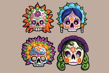 Day of the Dead Masks - Set of 4