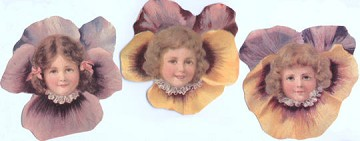 Set of 3 Die-Cut Pansy Girl Tags