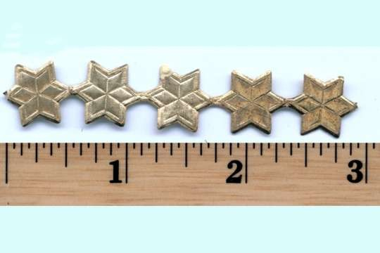 Small Vintage Golden Dresden Stars - Package of 5